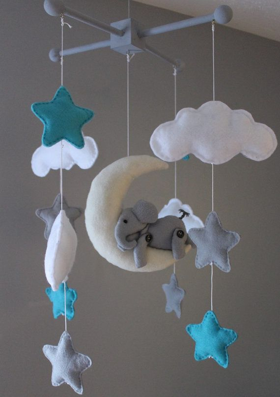 Elephant baby mobile  cloud baby mobile  stars baby by MaddiesHats