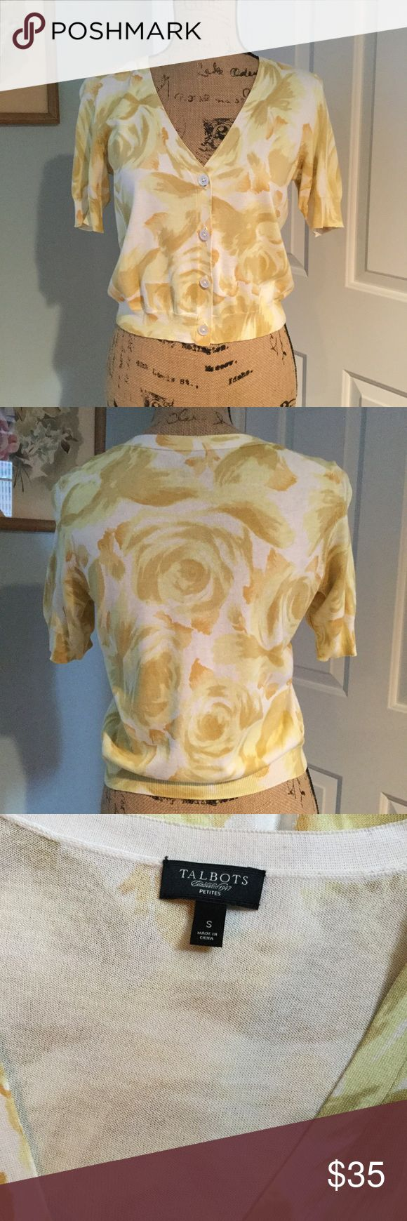 Talbots rose cardigan Beautiful Talbots petites sweater cardigan size small. Yellow, gold rose pattern. So pretty! Talbots Sweaters