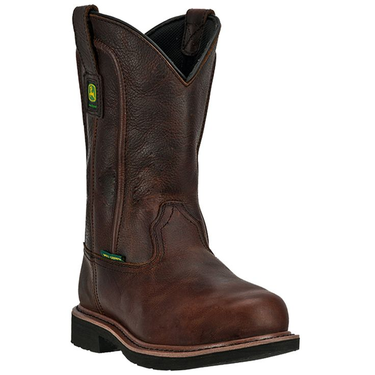 John Deere Mens Brown Leather 11in Mahogany Steel Toe Pull-On Work Boots