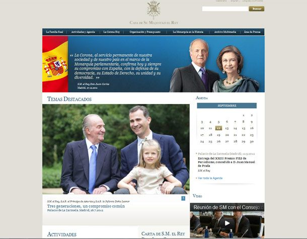 """""""The launch of my family's new website gives me the chance to send greetings to everyone who follows us on the web,"""" wrote King Juan Carlos in a letter of introd. on the new webpage (www.casareal.es) 