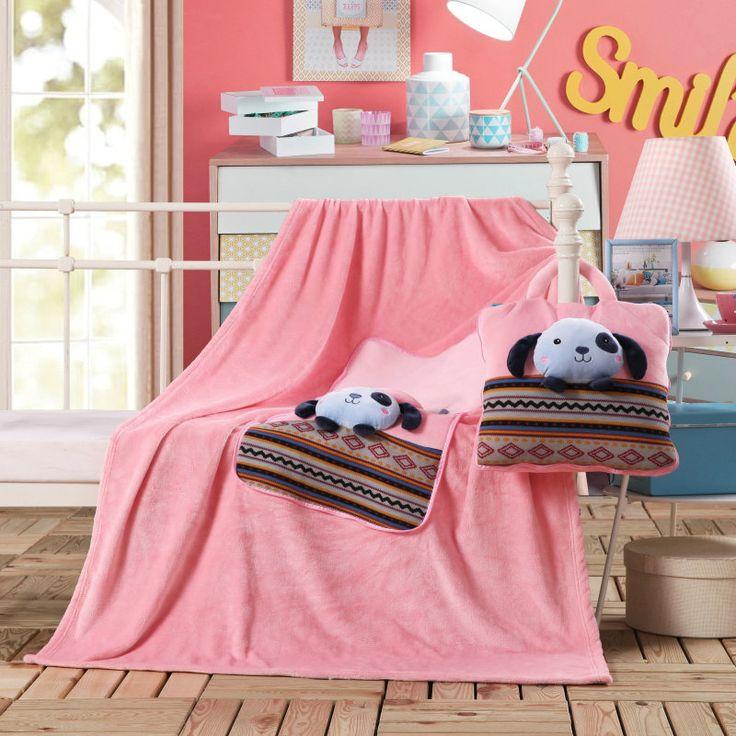 Ružová detská deka a vankúšik so psíkom