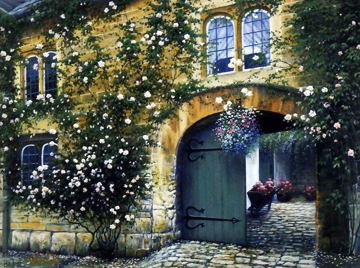 """The courtyard to this old stone cottage is lined with colorful flower gardens. Another beautiful print from award winning artist Charles White. Comes in an unframed image size of 10""""x7.5 with two sepa"""