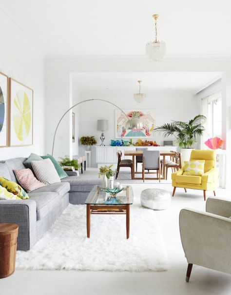 Madeleine and Jeremy Grummet and Family — The Design Files   Bright and airy white living room with pops of color