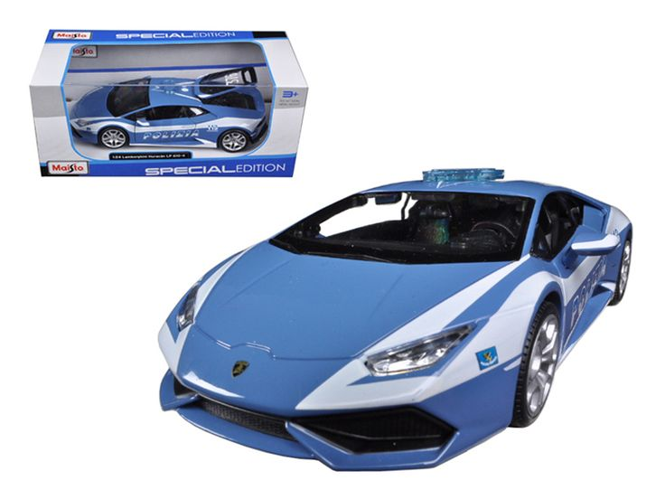 Lamborghini Huracan LP610-4 Police 1/24 Diecast Model Car by Maisto - Brand new 1:24 scale diecast model car of Lamborghini Huracan LP610-4 Police die cast car model by Maisto. Brand new box. Rubber tires. Detailed interior, exterior. Made of diecast with some plastic parts. Has opening doors and engine compartment. Dimensions approximately L-7.5, W-3.5, H-2.75 inches. Please note that manufacturer may change packing box at anytime. Product will stay exactly the same.-Weight: 2. Height: 6…
