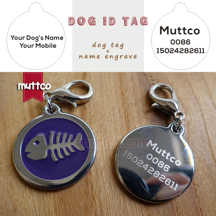 2pcs/lot 30mm laser lettering fish bone dog tags dog id tags for pets Dog Tag Pendant round dog name tags collar charm #Affiliate