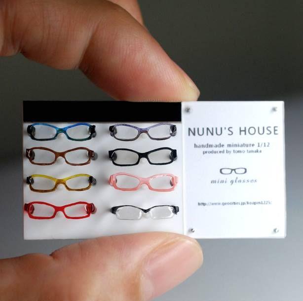 1:12 scale miniature eyewear from Nunu's House. Nunu's House are now on facebook too!! https://www.facebook.com/pages/Nunus-House-handmade-miniature112/242410399220487