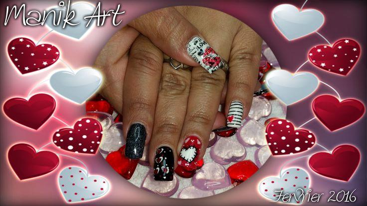 #nail #nailart #gelanil #valentinday #stvalentin #red #rouge #heart #lovenail #original
