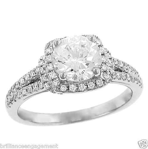 Round square halo diamond engagement ring 1 50 ct