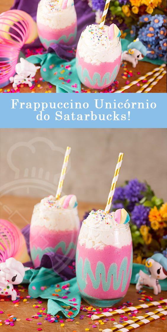 Faça em casa o seu Frappuccino / Milkshake de Unicornio do Starbucks com produtos que você encontra em qualquer mercado com suco em pó!