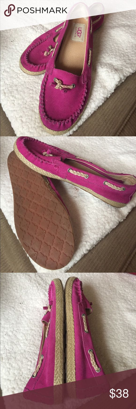 GIRLS PINK UGG SHOES SIZE 4 Shoes are in excellent condition and they are dark pink UGGS size 4 UGG Other