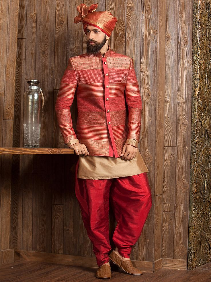 Shop Red beige double layred indo western online from G3fashion India. Brand - G3, Product code - G3-MIW3044, Price - 32395, Color - Beige, Red, Fabric - Silk,