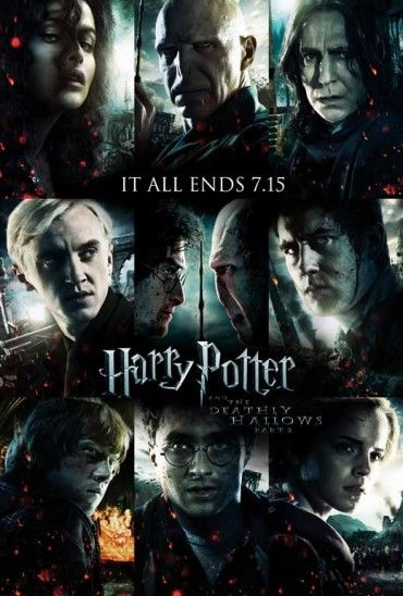"""11x17 Inch Harry Potter and The Deathly Hallows Part 2 Movie Poster features Bellatrix Lestrange, Lord Voldemort, Severus Snape, Draco Malfoy, Harry Potter facing off with Voldemort over the Elder Wand, Neville Longbottom, Ron Weasley, Harry Potter, and Hermione Granger. The text reads, """"IT ALL ENDS 7.15″. Get it now at http://harrypottermovieposters.com/product/harry-potter-and-the-deathly-hallows-part-2-movie-poster-style-z-11x17-inch-mini-poster/"""