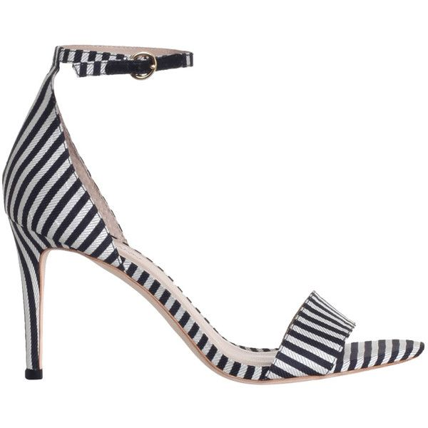 ZIMMERMANN Printed Strap Sandal (€290) ❤ liked on Polyvore featuring shoes, sandals, high heel sandals, black and white high heel sandals, black and white sandals, black and white strappy sandals and thin strap high heel sandals