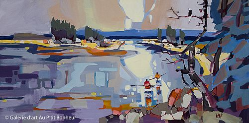 Rick Bond, 'Morning Paddle Companion', 24'' x 48'' | Galerie d'art - Au P'tit Bonheur - Art Gallery