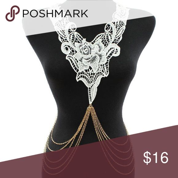 Lace Crochet Leaves Metal Body Chain Lace crochet leaves pattern metal body chain with lobster claw closure. Color: White / UDG154744WTDF Jewelry Necklaces