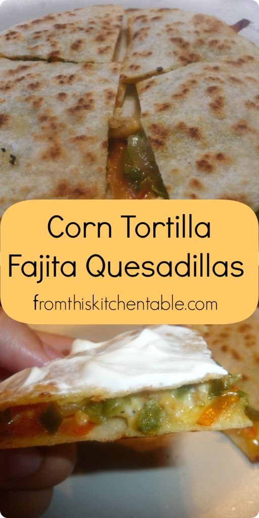 Such a fun and tasty way to use corn tortillas. Perfect way for those avoiding wheat to eat fajitas.//Corn Tortilla Fajita Quesadillas - From This Kitchen Table
