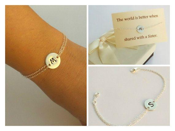 Sterling silver hand stamped initial disc bracelet. Mother of the groom bracelet. Sister bracelet. Best friend bracelet