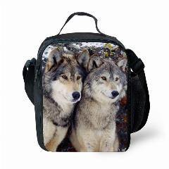 [ 26% OFF ] Fashion Lunch Container Thermal Insulated Cooler Bag Cool 3D Animal Wolf Print Lunchbag Kids Shoulder Picnic Food Box