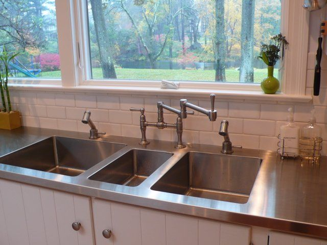426 best images about kitchen counters sinks faucets on for Stainless steel countertop with integral sink