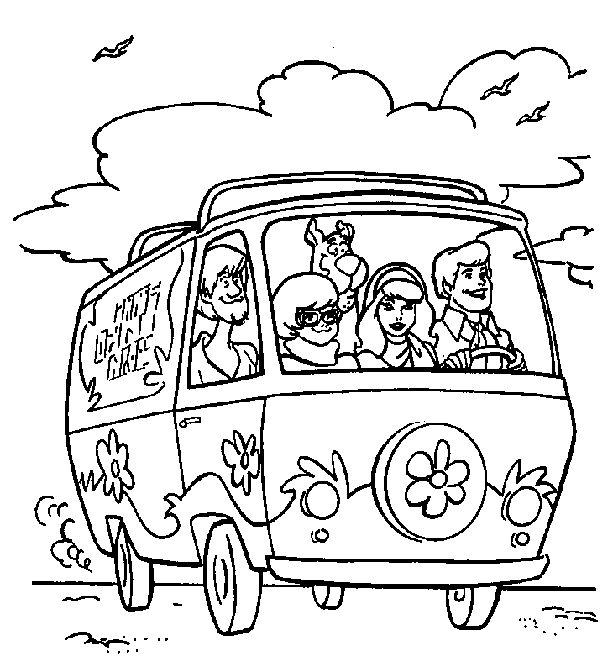 Freds Driving Mystery Machine Scooby Doo Coloring Pages Printable And Book To Print For Free Find More Online Kids Adults