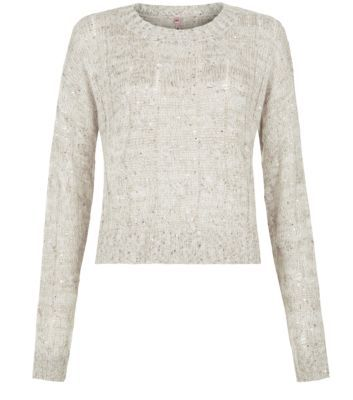 Stone Sequin Trim Cable Knit Jumper