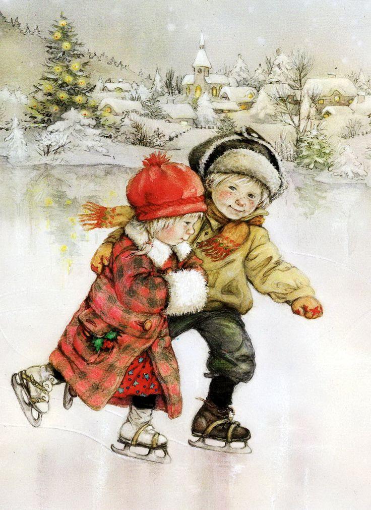 Старые открытки зимние забавы