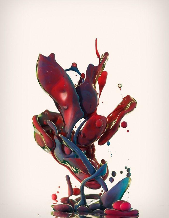Alberto Seveso est un artiste graphiste italien, son travail est basé sur la photo et la retouche d'images.  Pour ce projet baptisé « Dropping » en hommage au « dripping » de Jackson Pollock, l'artiste utilise des pigments mélangés à de l'huile pour réaliser ces clichés de la matière en mouvement. Le résultat offre des photos colorées presque irréelles prises à grande vitesse.