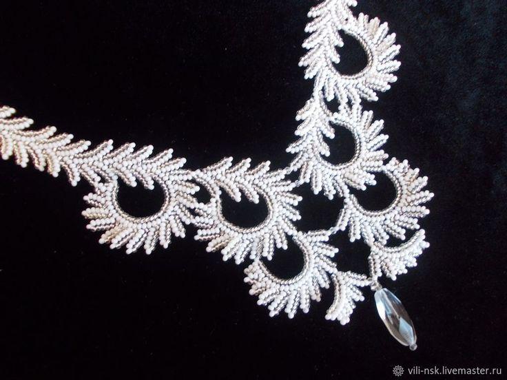 """Ожерелье """"Январь. Узоры на стекле""""   Бисерные украшения ..."""