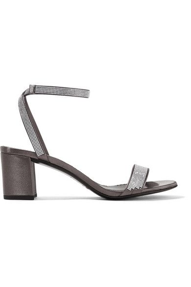 PEDRO GARCIA | Xela crystal-embellished satin sandals #Shoes #Sandals #Mid_Heel #PEDRO GARCIA