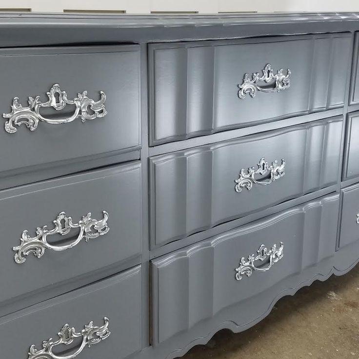 Gorgeous combination of greyish blue with Metallic Platinum hardware