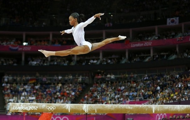 Gabby Douglas of the U.S. competes in the women's gymnastics balance beam final in the North Greenwich Arena during the London 2012 Olympic Games August 7, 2012.