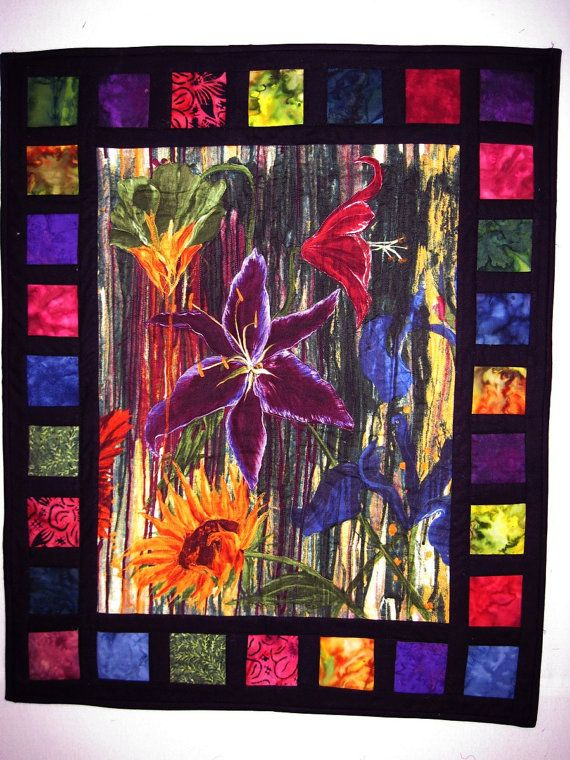 Quilted Wall Art Modern Art Lilies by KellettKreations on Etsy, $69.00