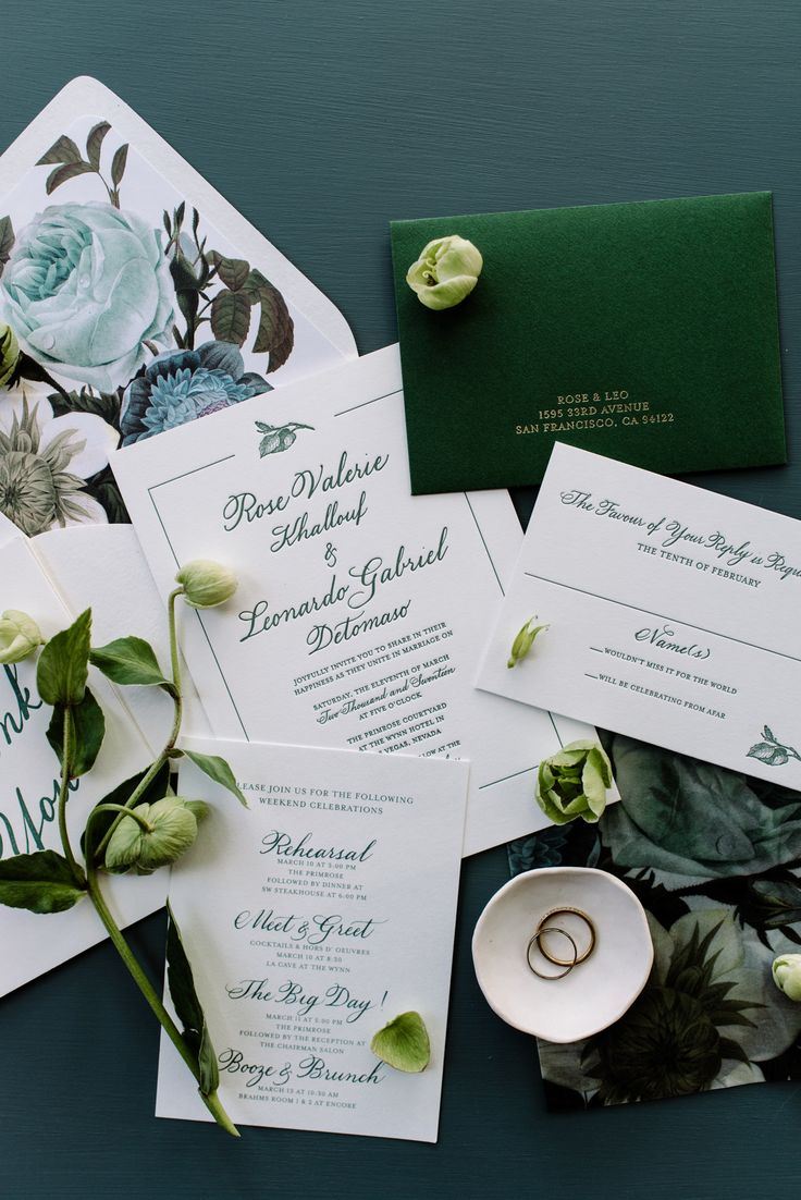 wedding invitation mint green%0A Behind the Invitation  Moody Emerald Florals