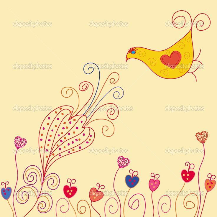 Открытка с птицей и цветок — стоковая иллюстрация #2436988