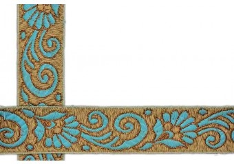 This awesome design is of Jacquard ribbon . Its product code is: 005039 , Its size is: 45 mm. Material used is 100% Polyester . This Jacquard ribbon comes with Plain decoration. As seen design pattern is Flower . Locally this lace is also known as Jacquard ribbon . This jacquard ribbon item have 1 colors available in this design. This lace can also be used in Salwar Kameez , Saree Border etc.