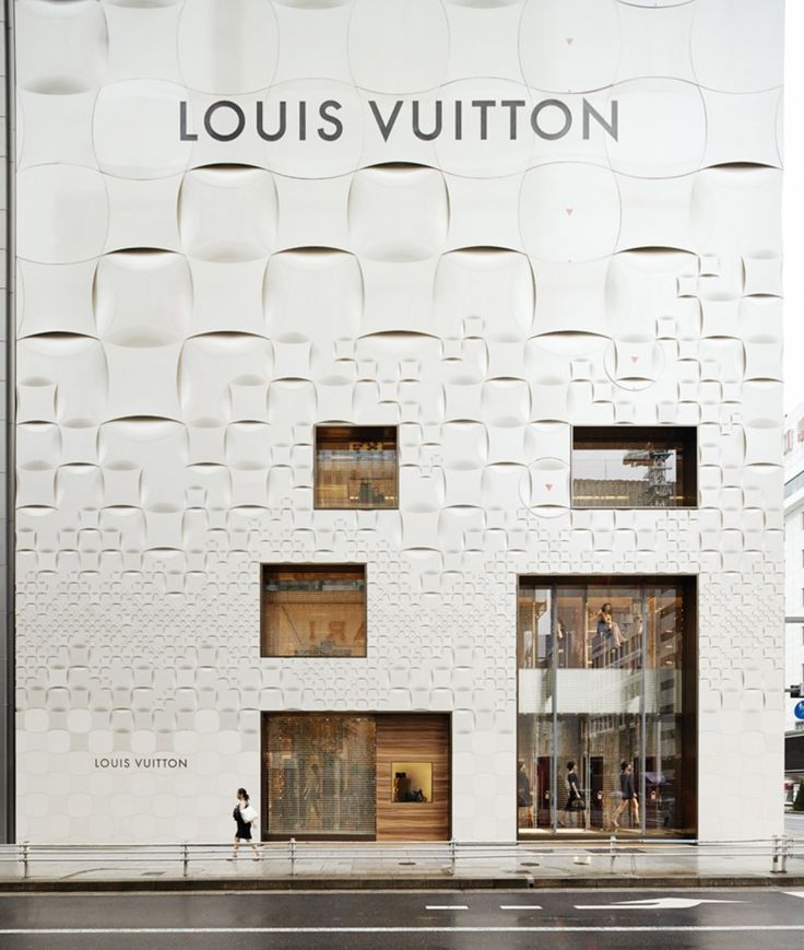 Louis Vuitton Matsuya Ginza Facade Renewal / Jun Aoki & Associates trama escala reduccion de modulo fachada