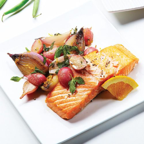 Salmon, Radish & Shallot Roast - Clean Eating - Clean Eating