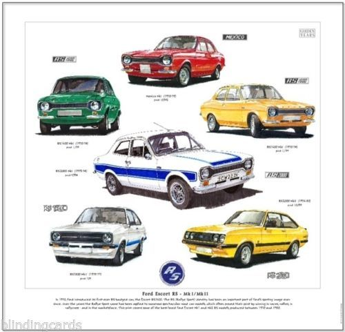 Kunstdruck-Ford-Escort-RS-MKI-MkII-RS1600-Mexico-RS1800-RS2000-MArk-1-2