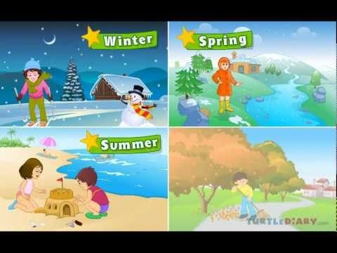 ▶ Learn all about the four seasons at www.turtlediary.com - YouTube Autumn reference. Covers weather, clothes, things to do, school, indoors, outdoors.
