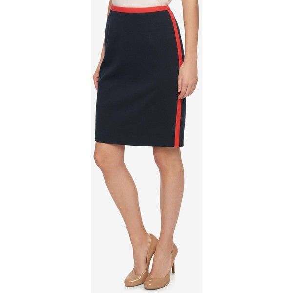 Tommy Hilfiger Contrast-Trim Pencil Skirt ($79) ❤ liked on Polyvore featuring skirts, navy pencil skirt, navy blue pencil skirt, pencil skirt, tommy hilfiger and navy skirts