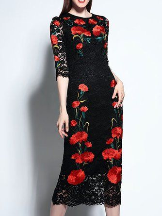 725702775cc Black Bodycon Daytime Lace Floral-Embroidered Midi Dress
