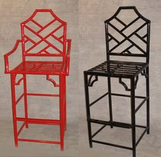 Chinese Chippendale Lattice Back Bar Stool Id like this type of pretty metal intricate stool chair for the spaces next to the tv