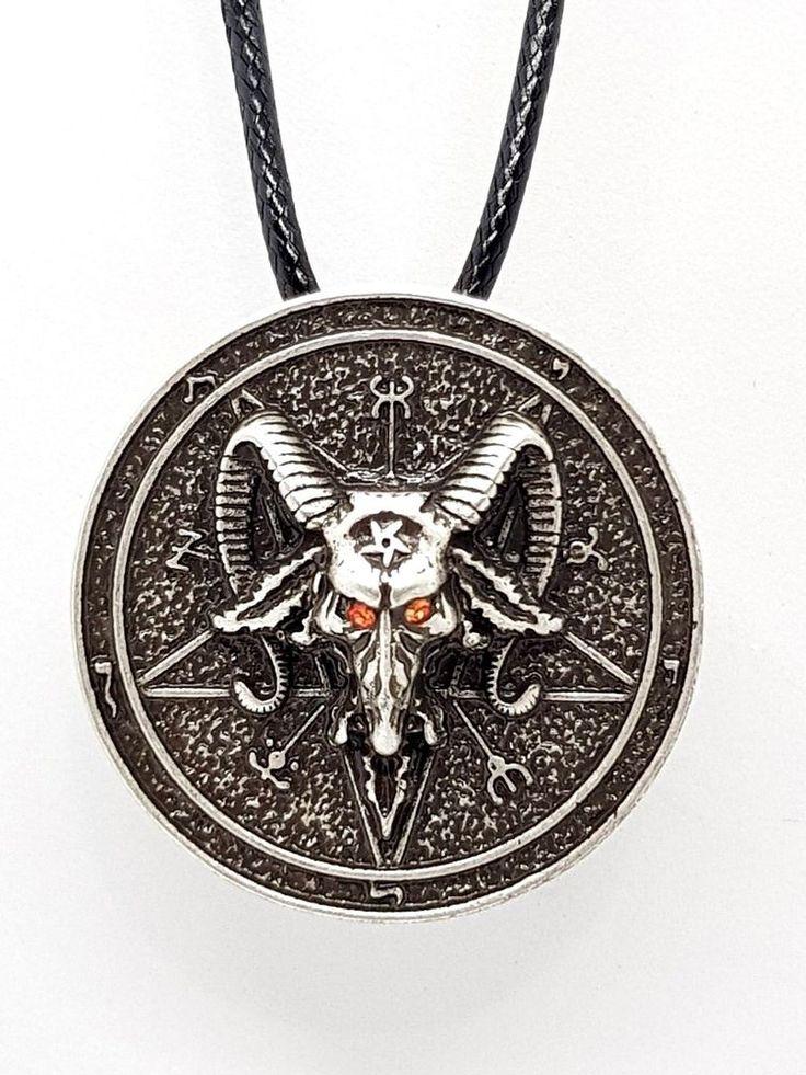 BAPHOMET DEVIL SATAN RED EYED Goat Head Pentagram Cord Necklace Pendant #Unbranded #NecklacePendant #satanic #satan #devil #antonlevey #baphomet #falenangel #devotion #pendant #jewellery #eclecticshopuk