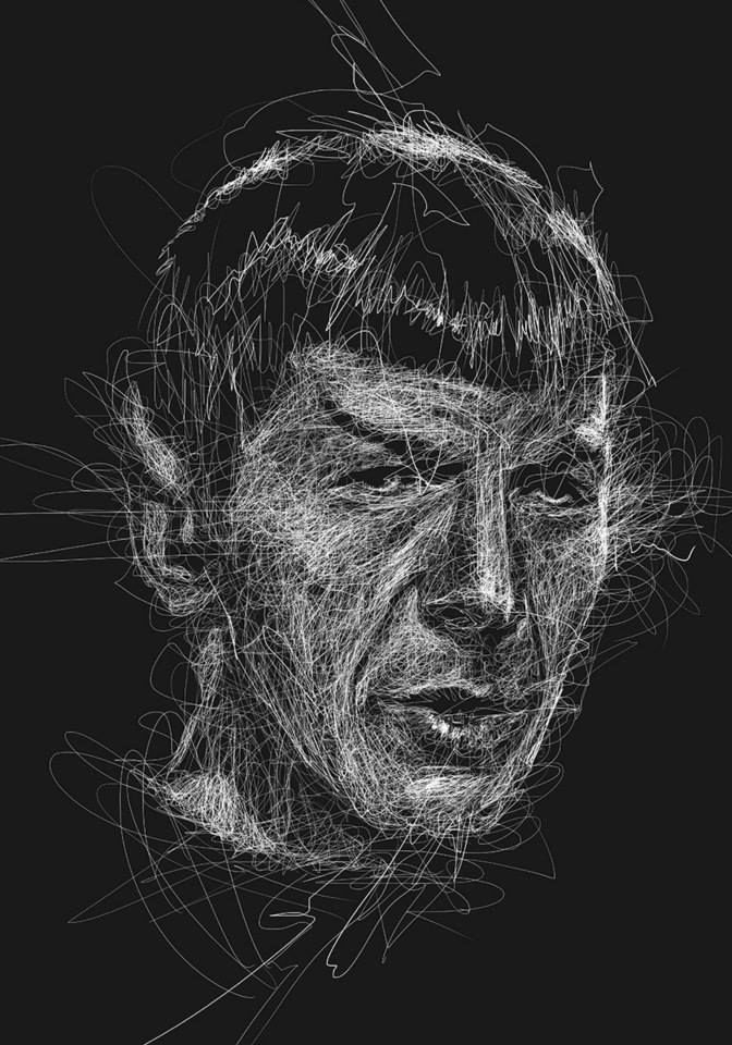 Scribble Drawing Portraits : Artist vince low mr spock scribble art pinterest
