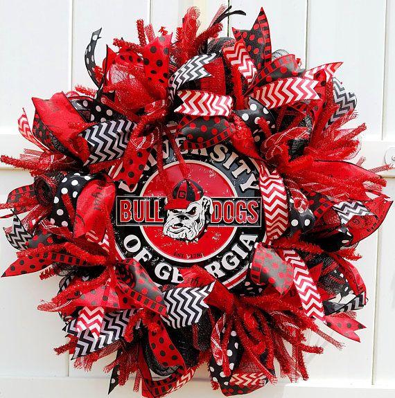 Georgia Bulldogs Wreath, Dawgs Wreath, University of Georgia Wreath, Bulldogs Wreath, Georgia Football Wreath, UGA Wreath, Georgia Wreath