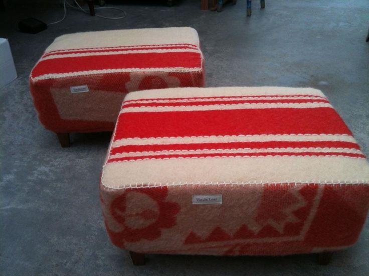 beautiful hand sewn objects from old woolen blankets/ zachte bijzet krukjes van Vie Ja Lee (seen on art market in Amsterdam)