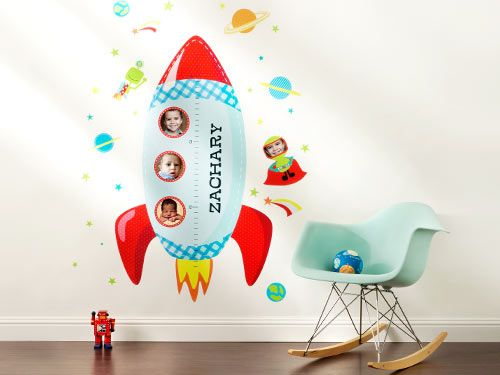 Rockets Away Growth Chart | Wall Decal | Head back to school with a fun growth chart to keep track of the changes. | www.Shutterfly.com