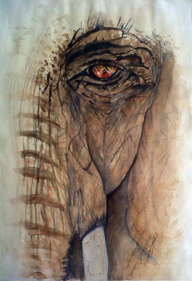 Windows I Elephant. Watercolour.