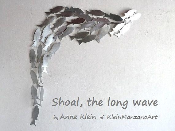 Shoal The Long Wave Metal art sculpture Fish by KleinManzanoArt, $1350.00