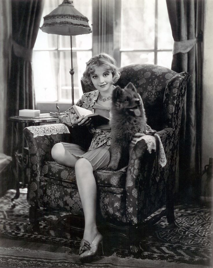 Actress Alice White enjoying a spot of reading with a darling pooch to keep her company., circa 1920's